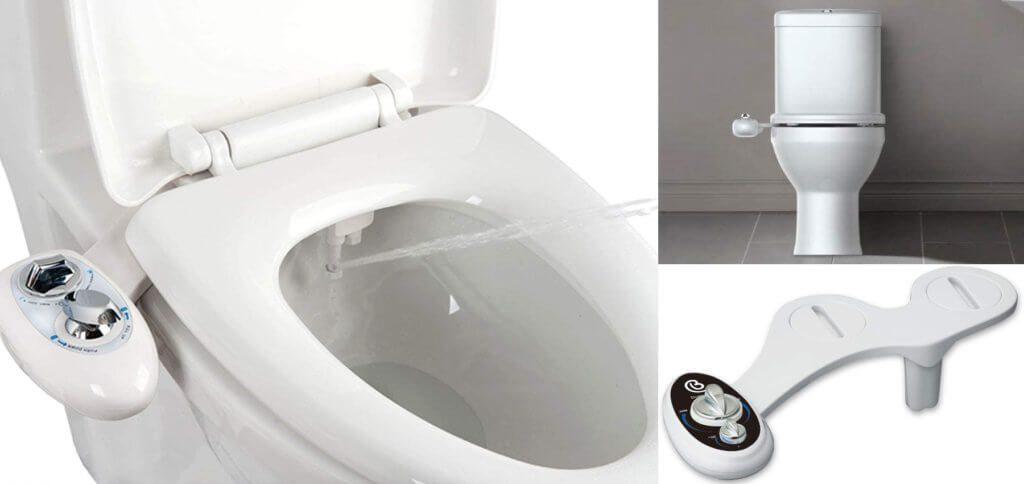 Ein Bidet Aufsatz für die Toilette ist ideal, um die Reinigung ohne Toilettenpapier zu ermöglichen. Produktbilder: Hersteller + Amazon
