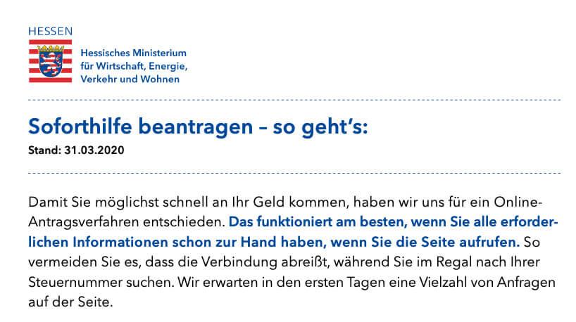 Die Webseite informiert über das Soforthilfeprogramm des Hessischen Staatsministerium für Wirtschaft und zeigt, welche Unterlagen und Daten man für den Antrag benötigt.