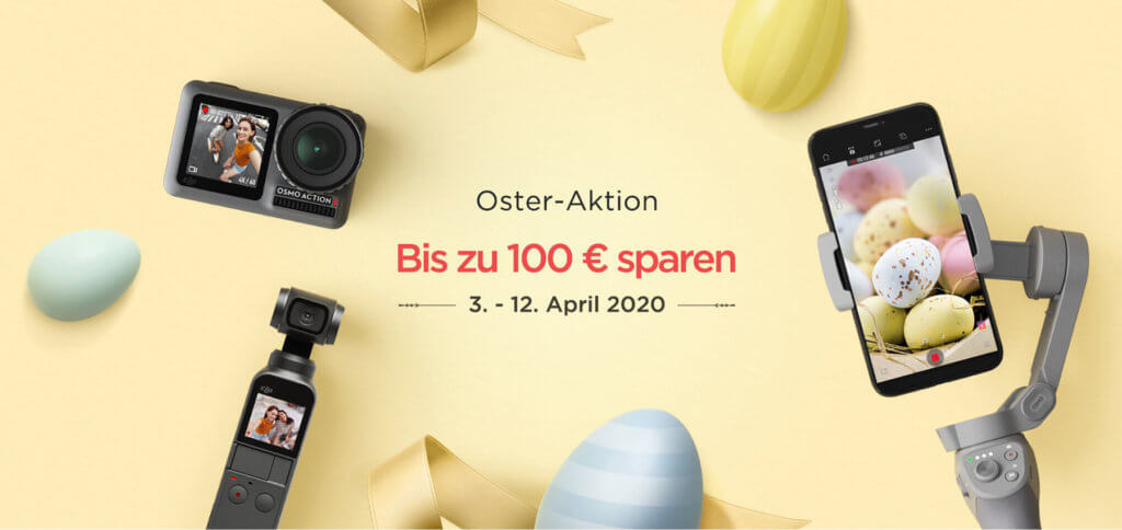 Beim DJI Oster-SALE 2020 könnt ihr bis zu 100 Euro sparen. Im Angebot sind bis zu 12.04.2020 diese Produkte: DJI Osmo Action, DJI Osmo Pocket, DJI Osmo Mobile 3 und DJI RoboMaster S1.