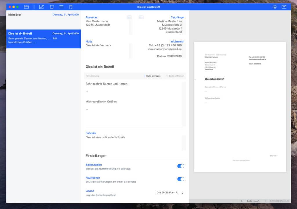 Die Ansicht von EasyLetter ist in drei Spalten geteilt: Links die Sidebar mit den ganzen Dokumenten, mittig die Editor-Ansicht und rechts die Vorschau.