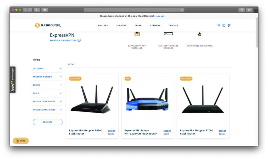 Im FlashRouters Shop gibt es VPN-geflashte Router für LAN und WLAN. Ein paar Modelle sind mit ExpressVPN ausgestattet.
