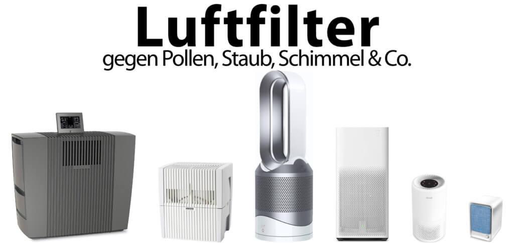 Luftfilter reinigen die Luft und filtern Pollen, Staub, Tierhaare sowie Schimmelpilze heraus. Auch Gerüche können Luftreiniger und Luftwäscher entfernen.