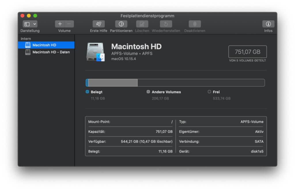 Beispiel-Screenshot für das Festplattendienstprogramm. Wird euch die neu eingebaute SSD nicht im Installer angezeigt, muss die Hardware nicht defekt sein. Schaut in dieses Programm, vielleicht muss sie nur formatiert oder partitioniert werden.