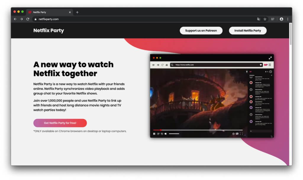 With NetflixParty or Netflix Party you can watch films, series and documentaries synchronized with others and exchange information about what you have seen.