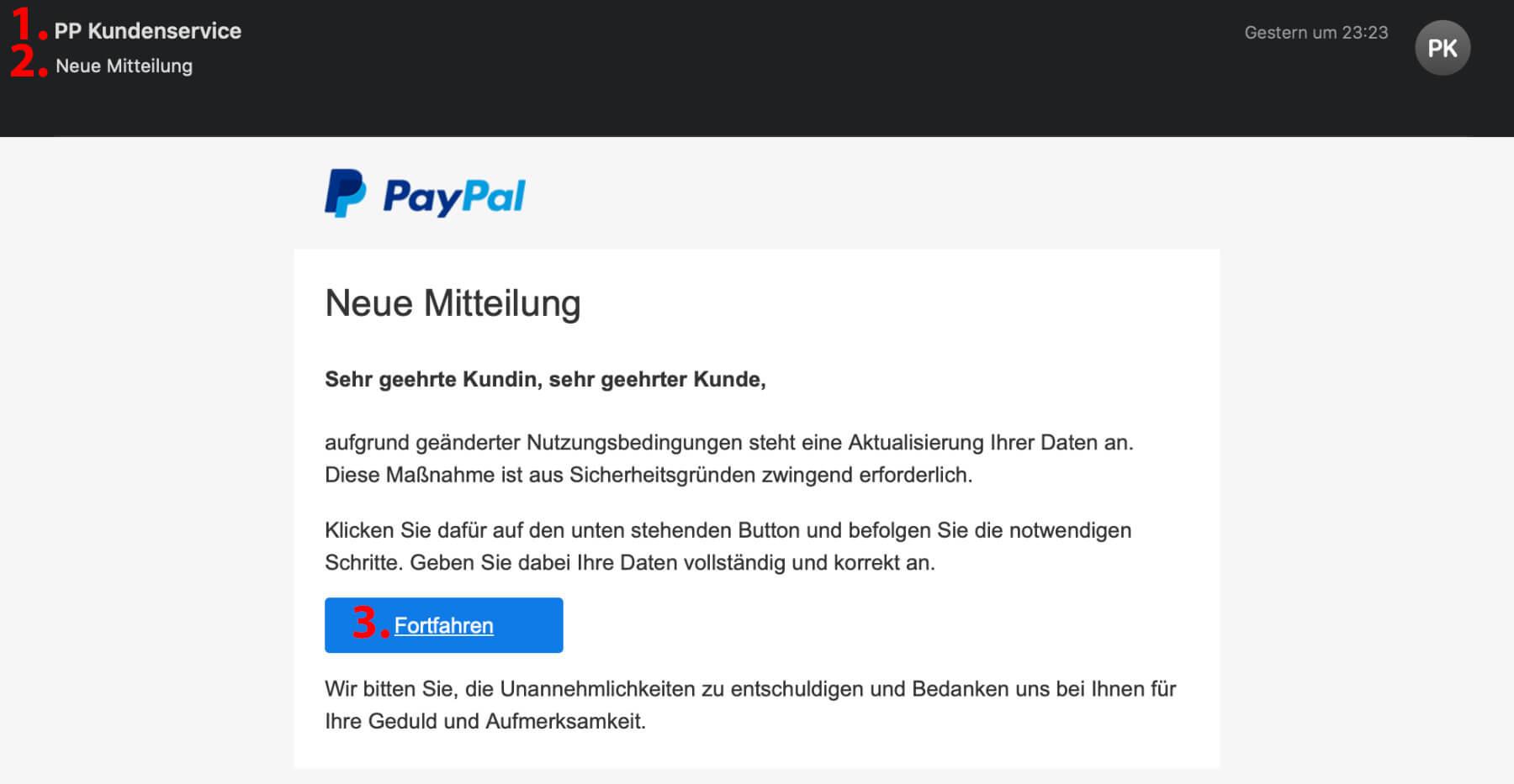 Paypal Betrüger Mail