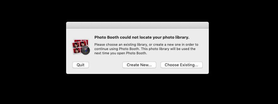 Hier sieht man, wie die englische Fehlermeldung von Photo Booth aussieht, wenn er die Library nicht findet.