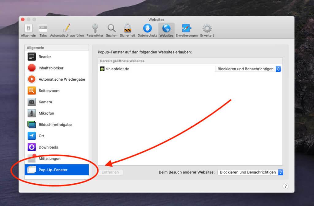 In Safari werden echte Popup-Fenster standardmässig unterdrückt – es sei denn man gibt sie bei einer Webseite explizit frei. Unser Overlay-Popup ist davon aber nicht betroffen.