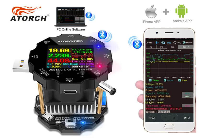 Das Atorch USB-Lastmodul UD18L läßt sich über Bluetooth mit dem iPhone verbinden und erlaubt dort die Überwachung der Werte (Foto: AliExpress).