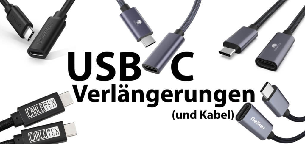 Eine USB-C-Verlängerung oder ein USB Type C Kabel sollte Power Delivery (PD) bieten, mindestens USB 3.1 Gen 2 für bis zu 10 GBit/s haben und eine brauchbare Länge haben. Hier findet ihr gut und sehr gut bewertete Beispiele.
