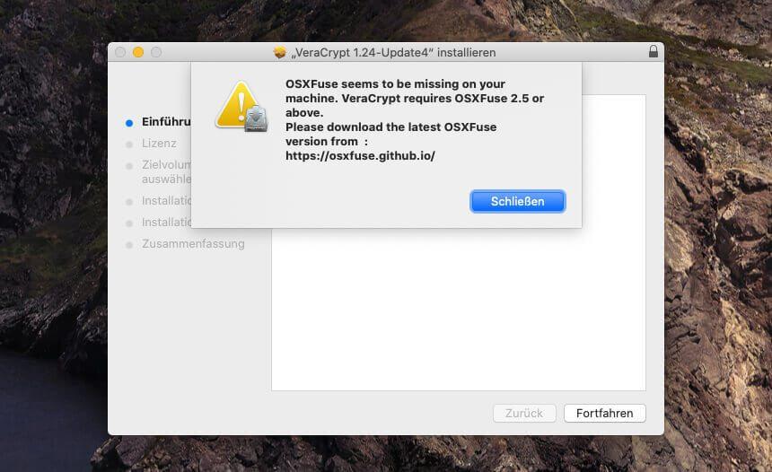 VeraCrypt möchte sich schon garnicht installieren, wenn man nicht vorher OSXFuse auf dem System eingerichtet hat.