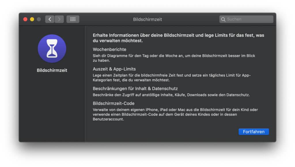 Beim Einrichten der Bildschirmzeit am Apple Mac begrüßt euch ein Einführungstext, der bereits die wichtigsten Funktionen erklärt. Bildschirmzeit ist ab macOS 10.15 Catalina verfügbar.