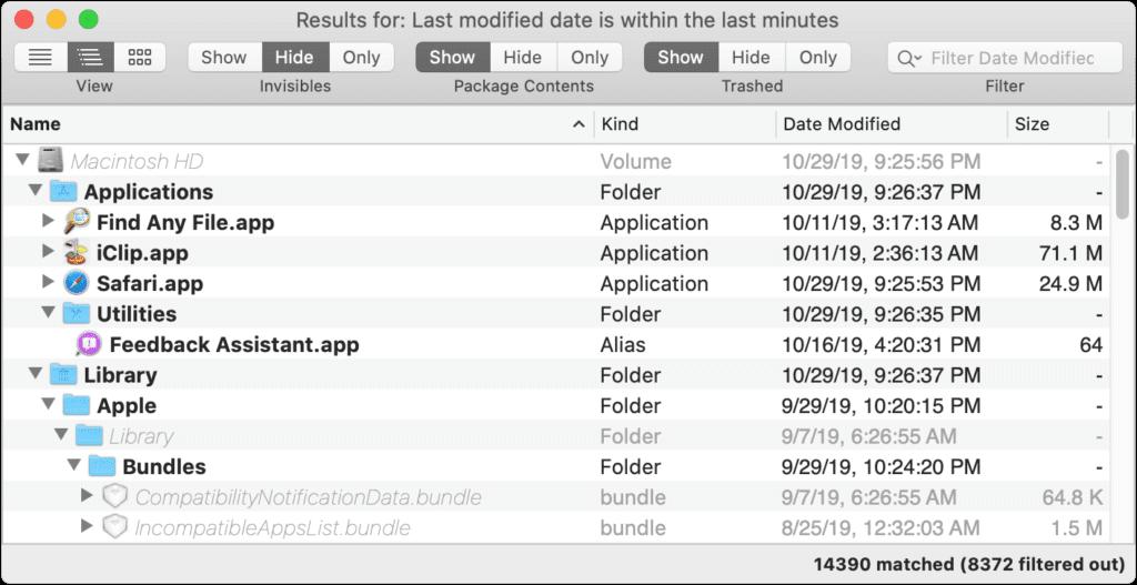 Das Mac Tool Find Any File (FAF) hilft beim Durchsuchen von einzelnen oder allen Festplatten und Speichermedien mit vielen Filtern und Reglern.