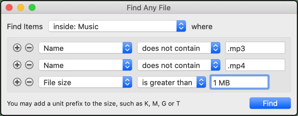 Beispiel für die Suche nach Musikdateien über das Ausschlussverfahren.