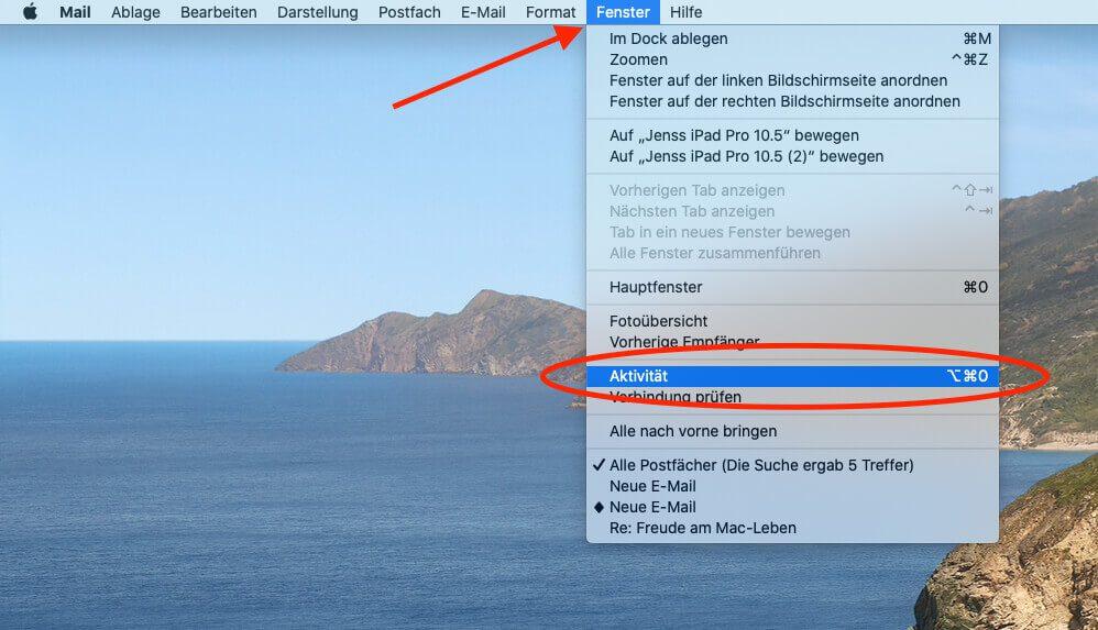 """Mit was Apple Mail gerade beschäftigt ist, lässt sich über den Menüpunkt """"Aktivität"""" herausfinden."""