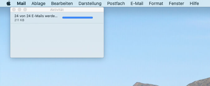 Nicht immer lassen sich Mails, die in Aktivität gelistet sind auch löschen.