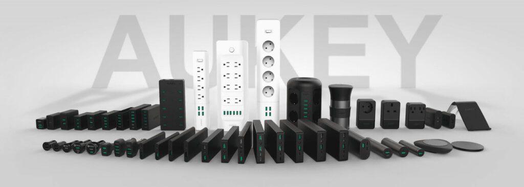Bei der Produktpalette von Aukey sieht man gleich den Schwerpunkt: Netzteile und Powerbanks!