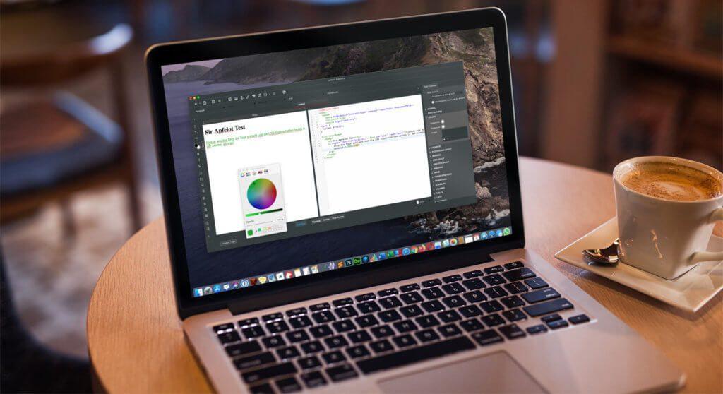 Die Dual-View des HTML Editors bietet sowohl eine Source Code als auch eine WYSIWYG-Ansicht und im rechten Bereich ein Fenster in dem die Eigenschaften von CSS Elementen angezeigt werden.