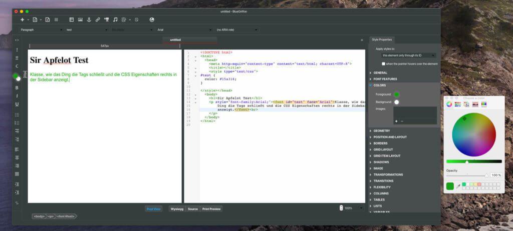 BlueGriffon ist genau das, was ich gesucht habe: Man kann eine Zwei-Fenster-Ansicht wählen oder im Source Code Fenster arbeiten. Auch der WYSIWYG-Modus ist eine Möglichkeit, die man beim Editieren wählen kann.