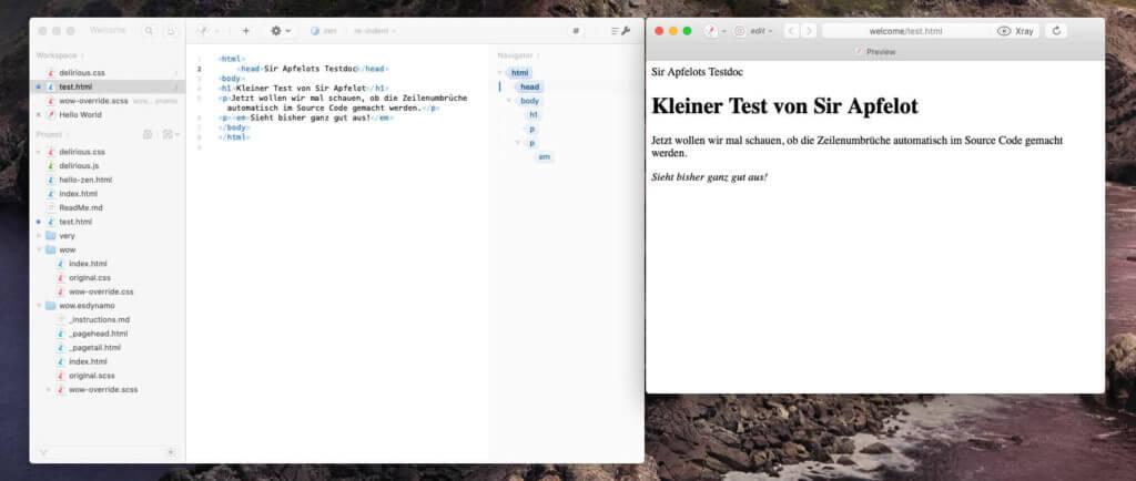 Der HTML-Editor Espresso ist meine neueste Lieblingswahl. Der Sourcecode wird ordentlicher dargestellt als bei BlueGriffon.