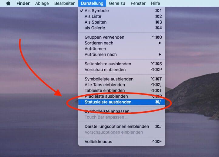 """Die Statusleiste mit dem Slider für die Icon-Größe kann mit dem Menü """"Darstellung"""" im Finder ein- oder ausgeblendet werden."""