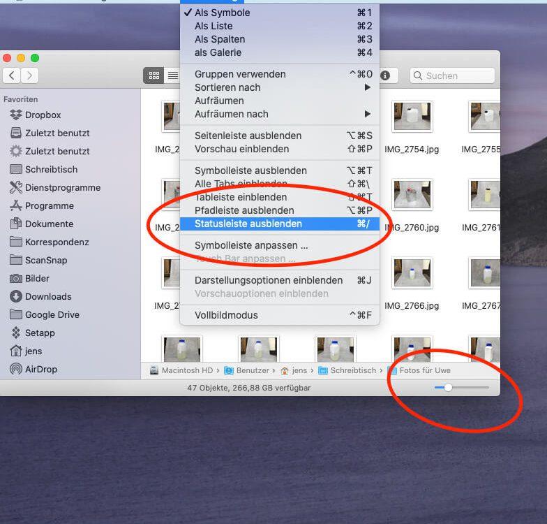 Statusleiste mit Icon-Slider einblenden