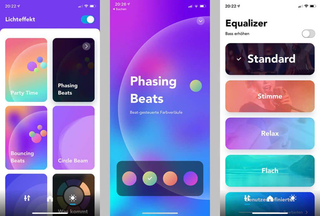 Über die App lassen sich die LED-Effekte und die Einstellungen des Equalizers steuern. Die Umsetzung ist wirklich gut gemacht und intuitiv bedienbar.