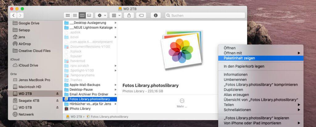 Die Mediathek der Fotos-App lässt sich auch ohne die App öffnen. Aber dann muss man sich mit kryptischen Ordnern und Dateinamen herumschlagen.
