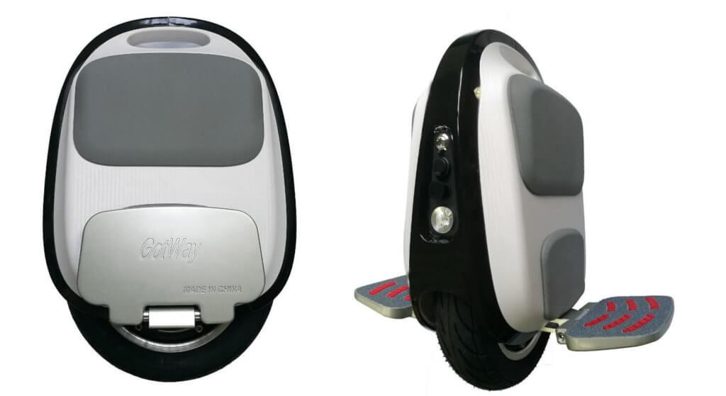 Seiten- und Frontansicht des Gotway MTen 3 – meines Wissens das kleinste Einrad mit dem man ernsthaft fahren kann (Foto: Gotway).