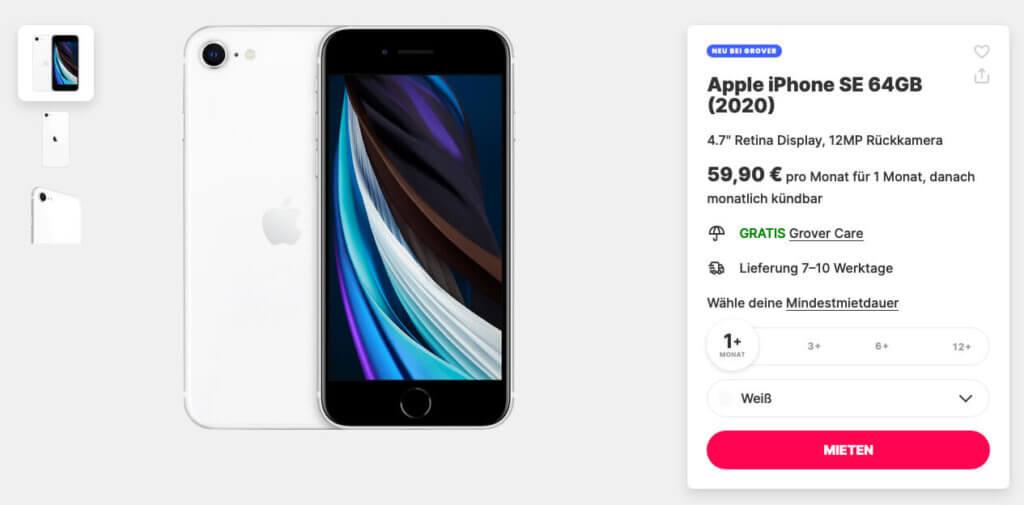 Auf Grover kann man das iPhone SE 2 ab einem Monat Laufzeit mieten (Grafik: grover.com).