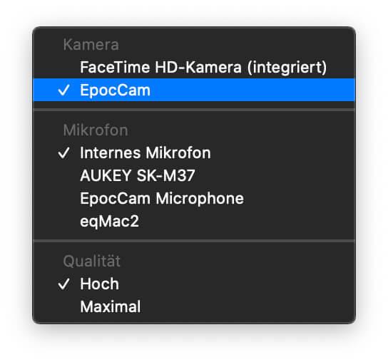 iPhone als Webcam am Mac nutzen – ob sich die EpocCam verwenden lässt, könnt ihr im QuickTime Player überprüfen.
