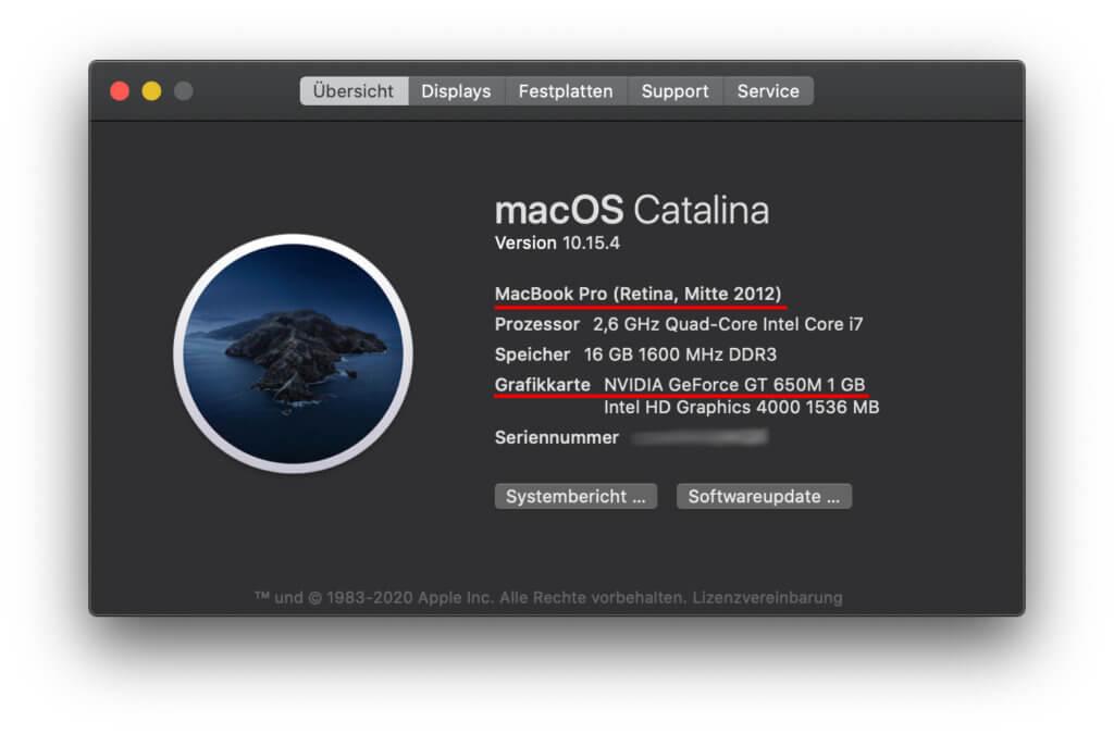 Daten einer betroffenen Baureihe; zum Glück musste hier bisher noch keine Apple MacBook Pro Grafikkarte-Reparatur durchgeführt werden. GPU defekt, Austausch