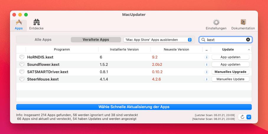 MacUpdater 2 findet nun auch Kernel Extensions, die nicht mehr uptodate sind – aber nur in der Kauf-Version der Software.