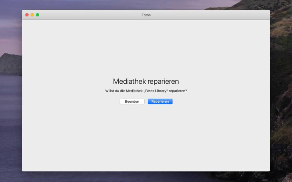 """Beim Start der Fotos-App hält man CMD und ALT gedrückt und klickt dann auf den Button """"Reparieren""""."""