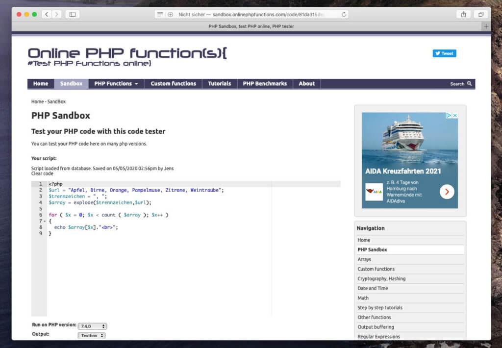 Die Sandbox von Online PHP Functions erlaubt sogar das Teilen von PHP-Skripten über einen einfachen Link.