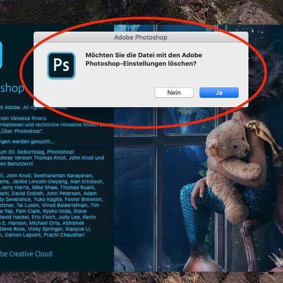 Voreinstellungen von Photoshop löschen