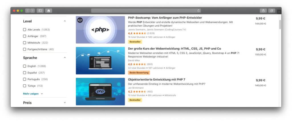 Bei Udemy findet ihr Video-Kurse zum PHP lernen. Aktuell sind die Angebote günstig, sodass ihr für einen Zehner den Umgang mit der Programmiersprache und MySQL als Datenbank erlernen könnt.