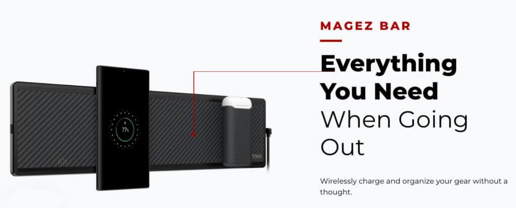 Die Pitaka MagEZ Bar – eine Art Ausruh-Hängematte für dein iPhone – aber es findet sich auch Platz für Schlüssel und AirPods.