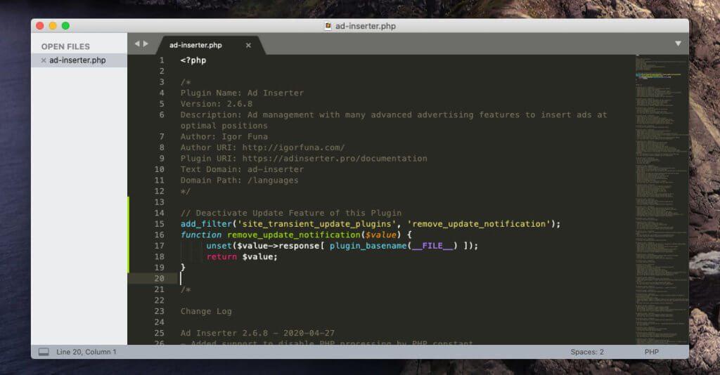 Hier sieht man die Codezeilen, die ich in den oberen Bereich des Plugin-Codes kopiert habe.