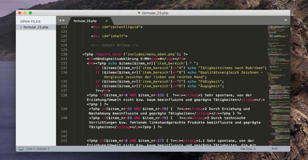 Sublime Text ist im Vergleich zu Dreamweaver wunderbar schnell und auch das Öffnen von 50 oder mehr Dateien legt den Mac keinesfalls lahm – ein Grauen bei Dreamweaver. Dafür gibt es bei Sublime Text keine Vorschau des Codes.