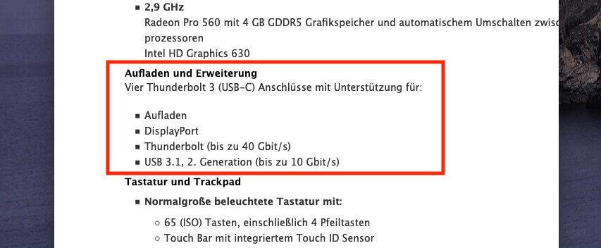 """Im Bereich """"Aufladen und Erweiterung"""" ist aufgeführt, welche USB-Spezifikationen der Mac besitzt."""
