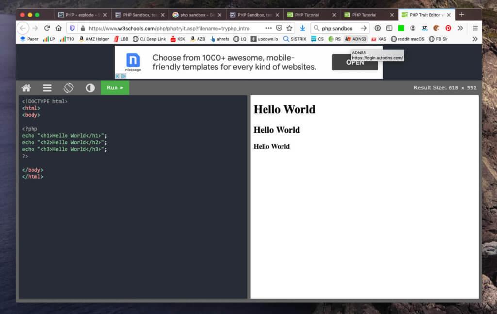 Die PHP Sandbox von W3Schools hat aus meiner Sicht die beste Benutzererfahrung, wenig Werbung und eine saubere HTML-Ausgabe.