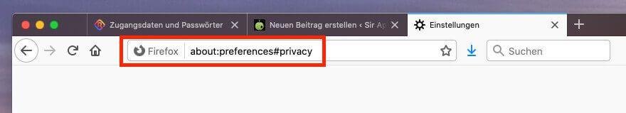 Firefox ruft Menüpiunkte über Befehle in der Adresszeile auf.