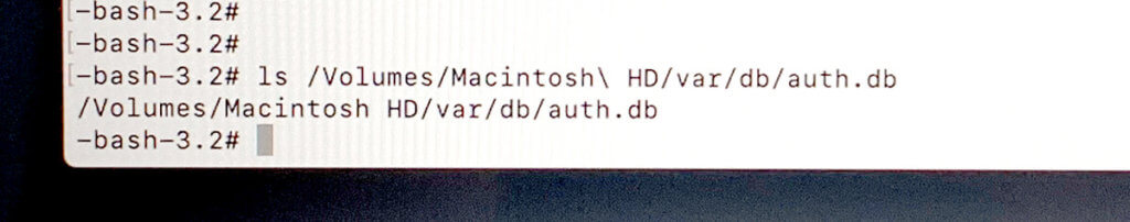 Hier sieht man die Datei auth.db, die wir löschen möchten.