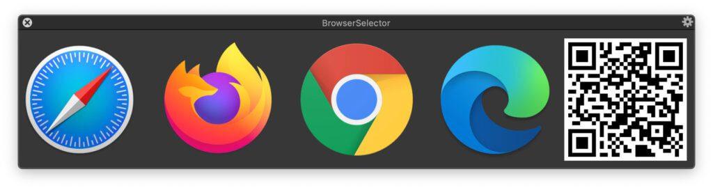 Mit dem BrowserSelector von BrowserFairy 2 könnt ihr für eine URL (für die noch keine Regel besteht) einen Browser auswählen. Den QR Code lässt sich mit dem Smartphone scannen, um die Seite dort zu öffnen. Screenshot: Webseite der App