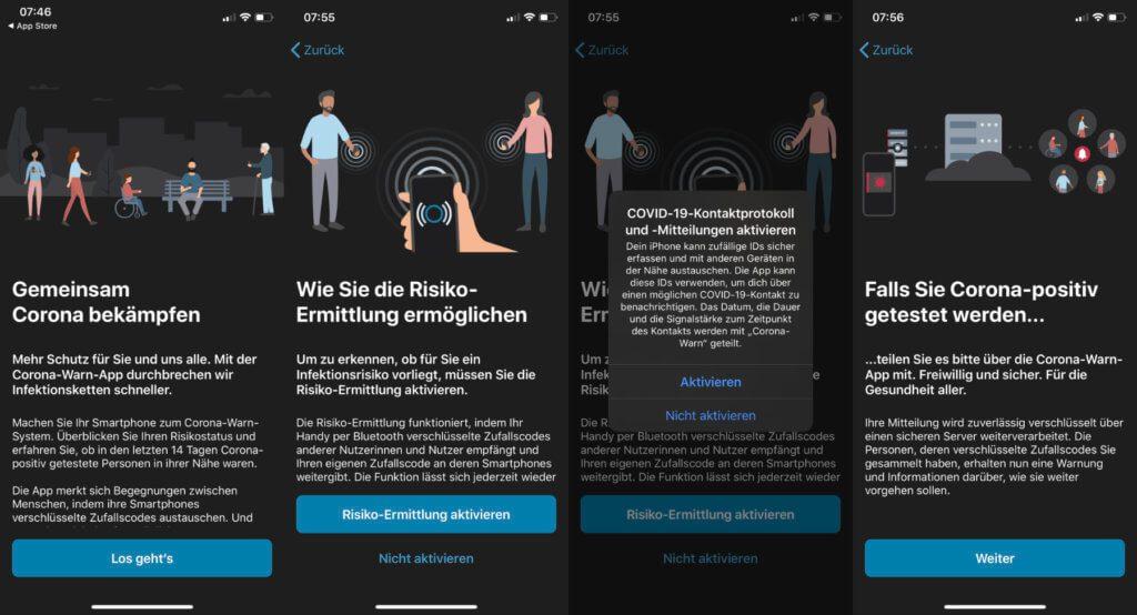 Nach der Installation der Corona-Warn-App wird man als Nutzer/in durch die Funktionen und Nutzung geführt. Hier die iOS-Version; ähnlich ist es aber auch in der Android-Version der deutschen Coronavirus App.