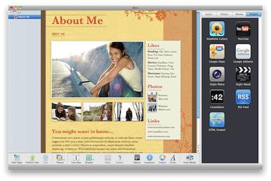 iWeb war Teil der iLife '09 Suite und hat damals das Erstellen von Webseiten mit Templates recht einfach gemacht (Screenshot: Wikimedia).