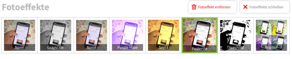 Die Fotoeffekte sind ein Bereich von Kaartje2go, den man getrost überspringen kann.