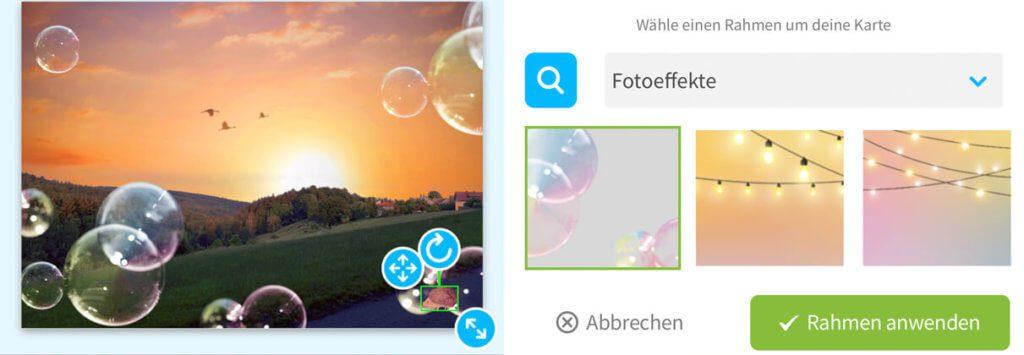 Unter Rahmen > Fotoeffekte gibt es eine schöne Auswahl an Overlays, die sich gut ins Bild integrieren.