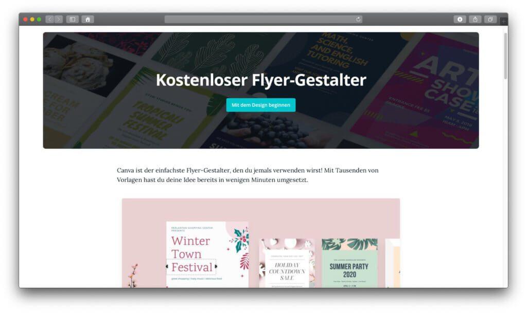 Die Webseite mit dem gratis Werkzeug zum Flyer erstellen ist übersichtlich und benutzerfreundlich.