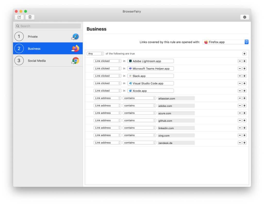 Mit BrowserFairy 2 könnt ihr am Apple Mac Regeln festlegen, um Links bzw. URLs, die bestimmte Seiten enthalten, in zugeteilten Browsern zu öffnen –Safari, Firefox, Chrome und mehr. Zudem könnt ihr festlegen, dass ein bestimmter Webbrowser genutzt werden soll, wenn Links aus dieser oder jener App geöffnet werden; Slack, Xcode, Teams, etc. Screenshot: Webseite der App